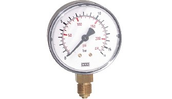 Pressure gauge, vertical (also for vacuum)