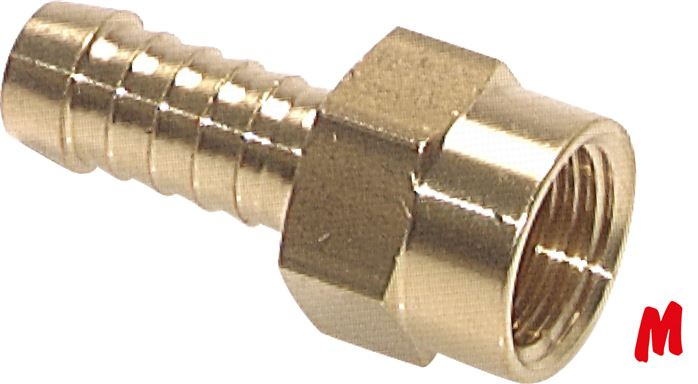 Screw-on hose fittings with metric thread (fixed), PN 16