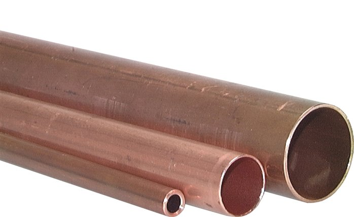 Copper installation tubes, lengths, hard (R 290), semi-hard (R 250), DIN EN 1057 / DVGW