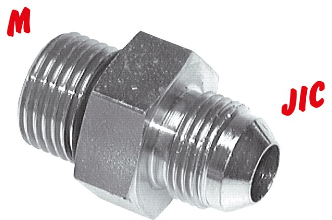 Double nipple with  metric thread / JIC-thread, up to 310 bar