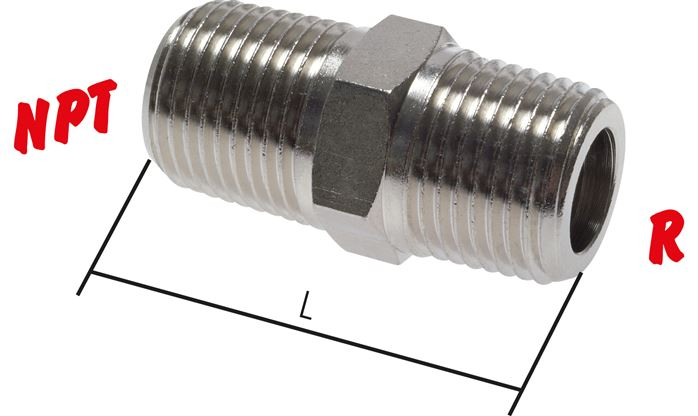 Double nipple with R-threads / NPT-threads, PN 60