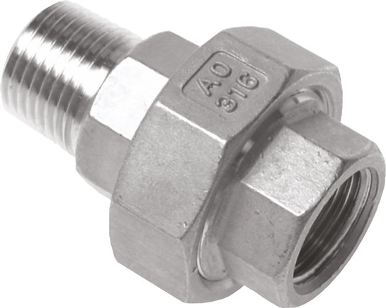 Screw connections with female and male thread - conically sealing, up to 25 bar