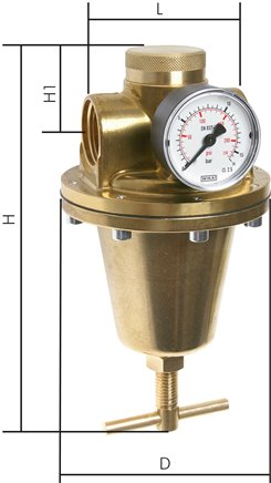 Pressure regulators for high pressure values, up to 40 bar