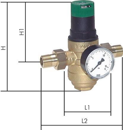 Filter pressure reducer for drinking water and nitrogen (brass sieve bowl), PN 25