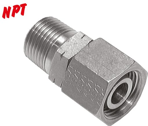 Adjustable screwed connections (NPT-thread) with pipe nozzle