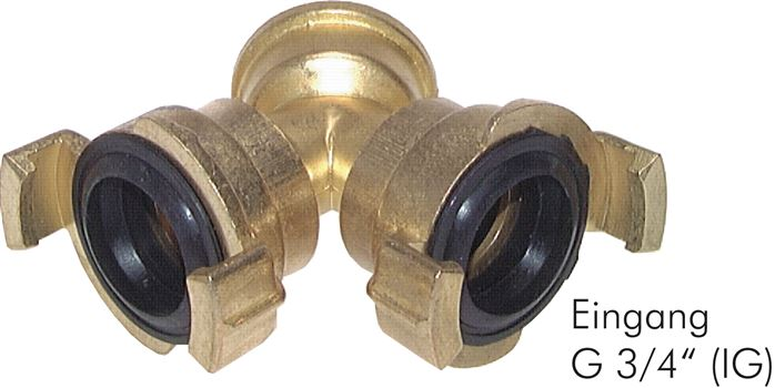 Y distributor for garden hose-quick couplings, 40 mm
