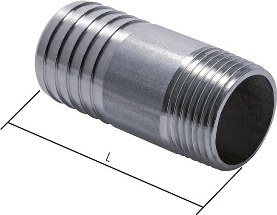 Threaded nozzles with conical threads without collar, PN 50