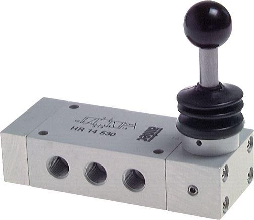 5/3-way hand lever valve, G 1/4