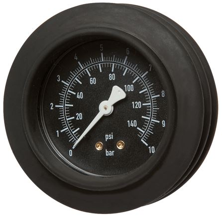 Pressure gauge, impact protected for hand tyre inflator Ø 63, 80 mm