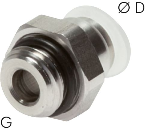 Push-in fittings, cylindrical thread, PP