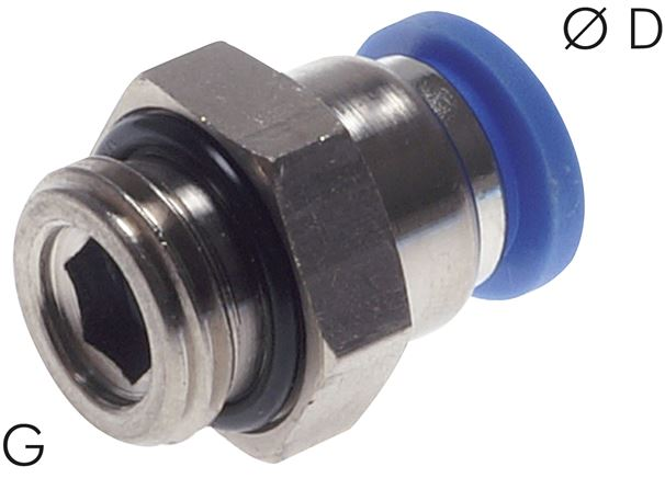 Push-in fittings, cylindrical thread, standard
