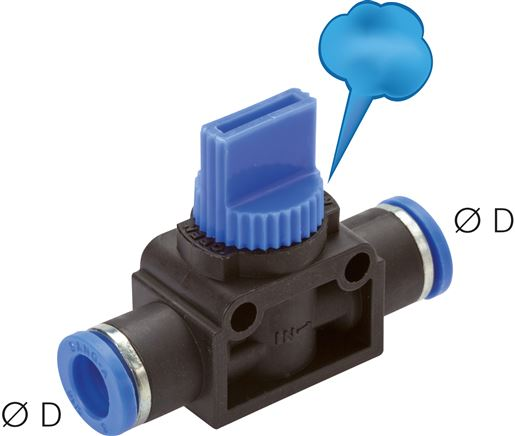 3/2-way shut-off valves with push in fitting, Standard