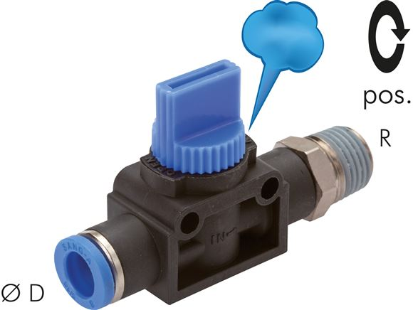 3/2-way shut-off valves with male threads and push in fitting, Standard
