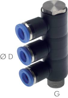 Multiple distributors, 3-way*, cylindrical thread, standard