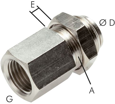 Bulkhead push in fittings with female threads, MSV