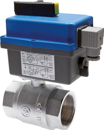 Ball valves with electrical rotary actuator (sanitary version), up to 40 bar*