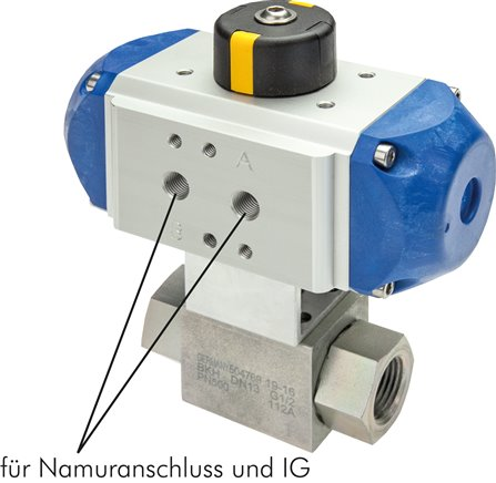 High-pressure ball valves with pneumatic rotary actuator, up to 500 bar