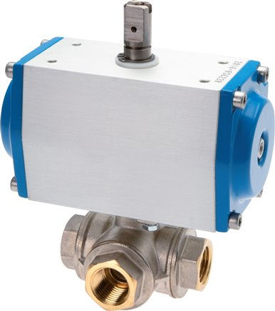 3-way ball valves with pneumatic actuator, double acting (will be discontinued)