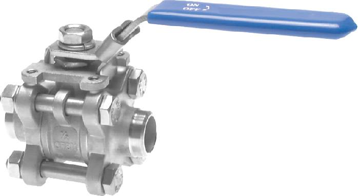 Stainless steel ball valves 3-part, with full throughway and welded ends, PN 63
