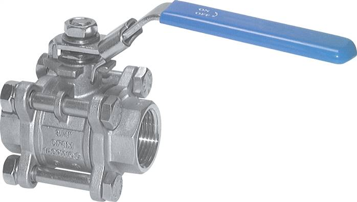 Stainless steel ball valves, 3-piece, with full throughway, short design, up to 63 bar (will be discontinued)