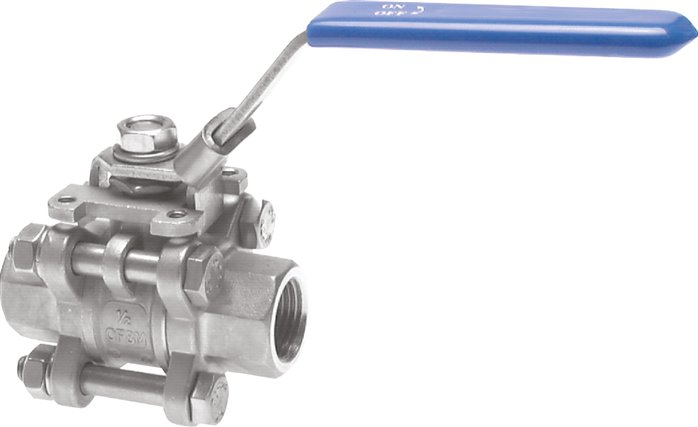 Stainless steel ball valves, 3-part, with full throughway, PN 63
