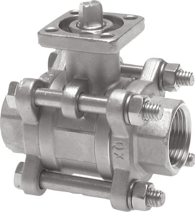 Stainless steel-ball valves 3-part, with direct assembly flange, PN 1%