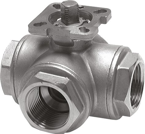 Stainless steel 3-way ball valves with assembly flange according to ISO 5211, PN 63