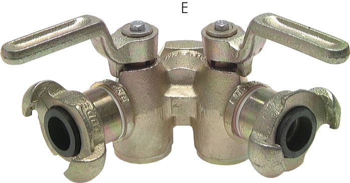Double cock plug valves with compressor coupling (DIN 3487), 42 mm