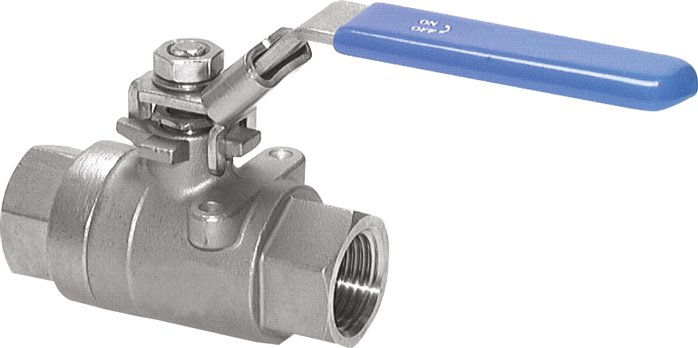 Stainless steel ball valves, 2-piece, with full throughway, up to 130 bar