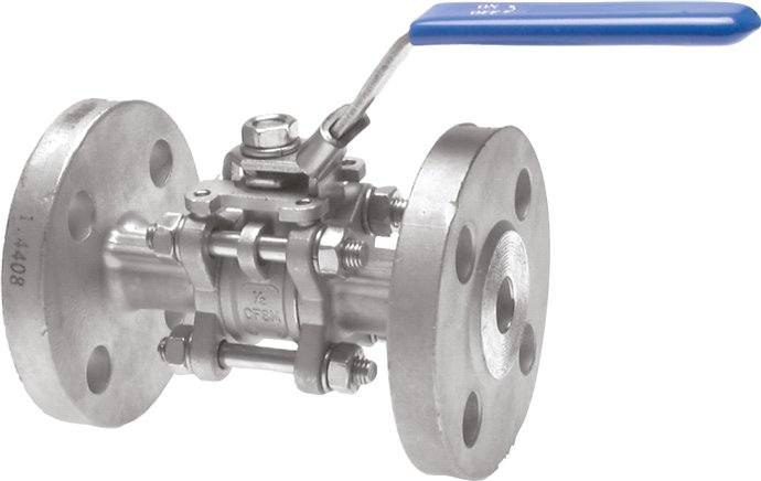 Stainless steel flanged ball valves, 3-piece, with full throughway, PN 16/40