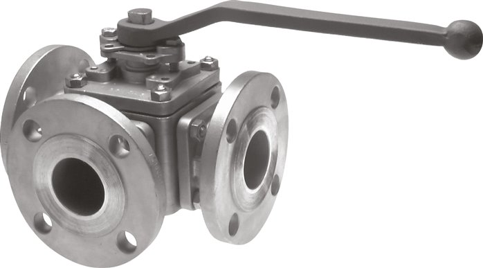 Stainless steel 3-way flanged ball valves, full throughway, PN 16