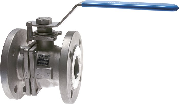 Stainless steel flanged ball valves, 2-part, with full throughway, PN 16
