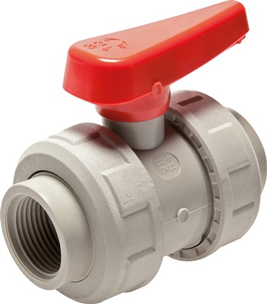 Ball valves with female threads PP-H industrial version (for plastic threads), PN 10