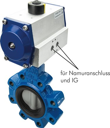 Pneum  Flange mounted-Flap valve DN100/PN 25, GGG40/GGG40 epoxy coated/EPDM