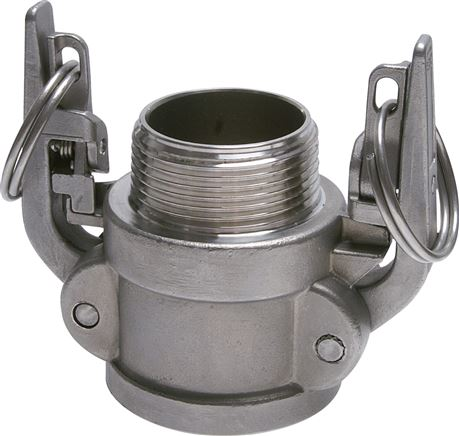 Quick coupling sockets with safety locking device and male thread, type B