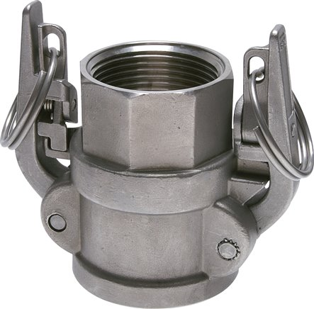 Quick coupling sockets with safety locking device and female thread, type D