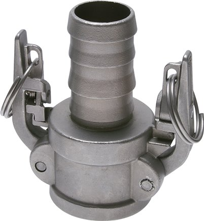 Quick coupling sockets with safety locking device and hose screw