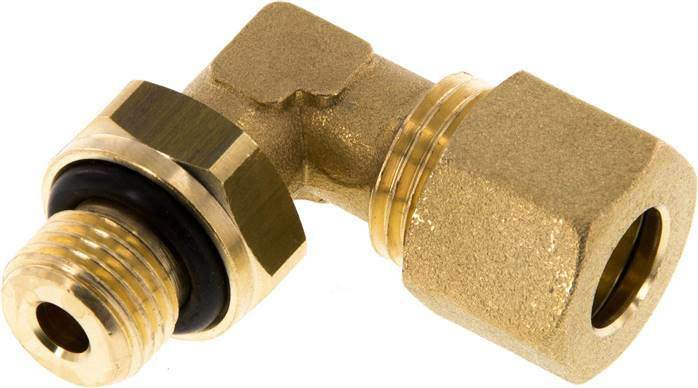 "Elbow compression ring fitting G 1/4""-10mm, brass (KWE 1410 MS ED)"