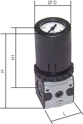 Pressure regulators with integrated pressure gauge, up to 2100 l/min**