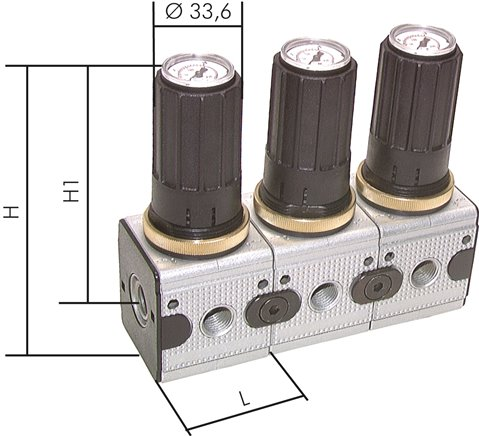 Pressure regulators with integrated pressure gauge for pressure entry points on both sides, up to 2250 l/min**