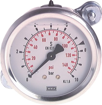 Glycerine built-in pressure gauge Ø 63 mm, Ø 100 mm nickel chromium steel / brass, Class 1,6/1,0