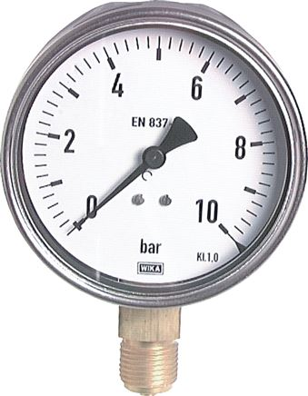Vertical pressure gauge Ø 100 mm nickel chromium steel/brass, robust, Class 1.0