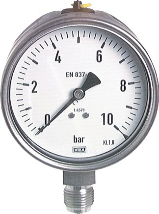 Pressure gauge, vertical, Ø 100 mm, for chemicals, Class 1.0