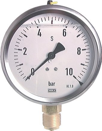 Glycerine pressure gauge vertical Ø 100 mm nickel chromium steel / brass, Class 1.0