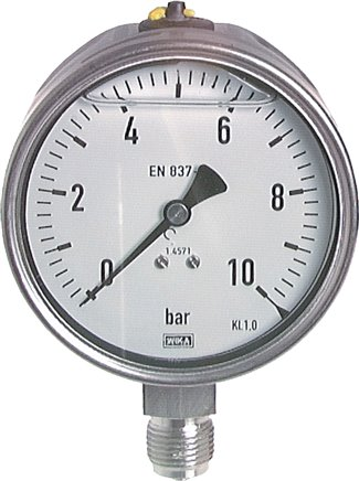 Glycerine pressure gauge, vertical, Ø 100 mm, Chemical version, Class 1.0