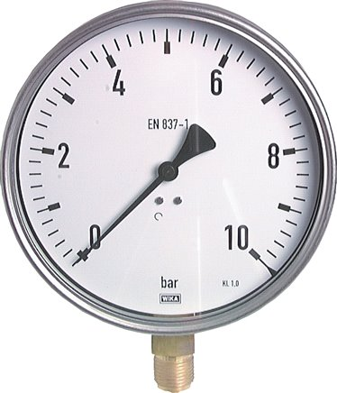 Vertical pressure gauge Ø 160 mm nickel chromium steel/brass, robust, Class 1.0