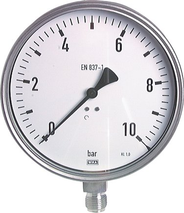 Pressure gauge, vertical, Ø 160 mm, for chemicals, Class 1.0