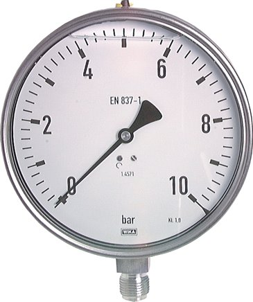 Glycerine pressure gauge, vertical, Ø 160 mm, Chemical version, Class 1.0
