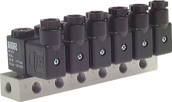 3/2-way solenoid valves with manifold block, Series MS