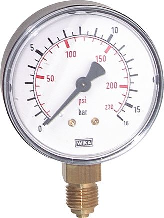 Pressure gauge, vertical, Ø 40, 50, 63 mm, Class 2.5